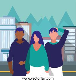 Woman and man avatar in the city vector design
