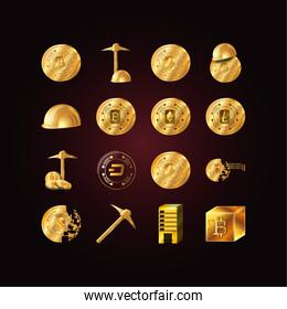 Isolated money and bitcoin icon set vector design