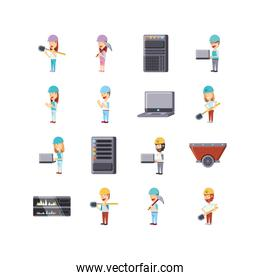 Isolated programming and construction icon set vector design