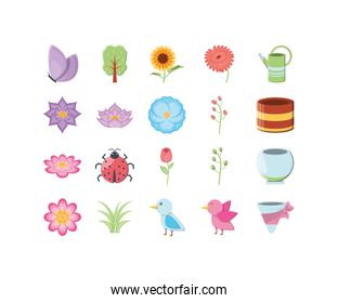 Isolated nature and garden icon set vector design