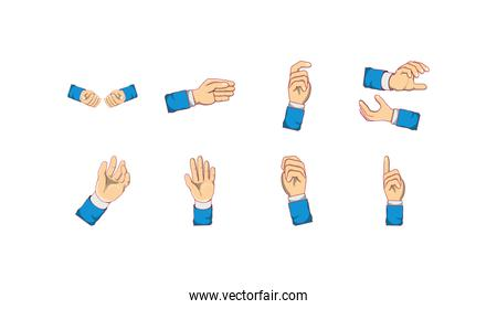 Isolated sign language with hands icon set vector design