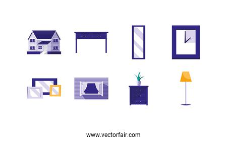 Isolated house decoration objects icon set vector design