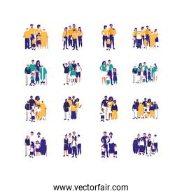 Set of mothers fathers kids and grandparents vector design
