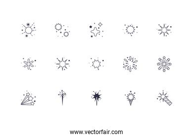 Isolated celebration fireworks icon set vector design