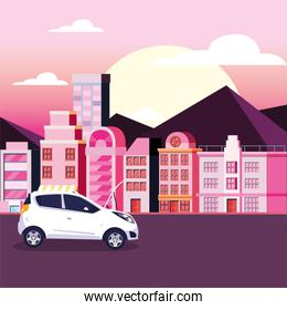 Car on the street in front of buildings vector design