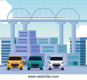 Cars on the street in front of buildings vector design