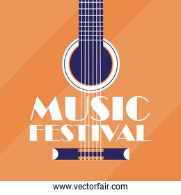 banner music festival with guitar background