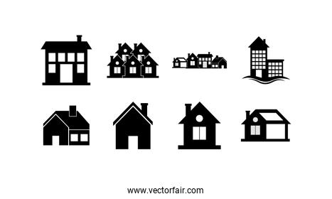 Isolated houses with window and door icon set vector design
