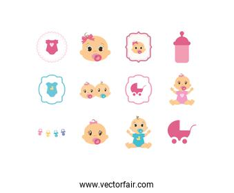 Isolated baby icon set vector design