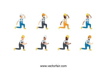 Isolated builder men with yellow and white helmet set vector design