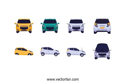 Isolated cars set vector design