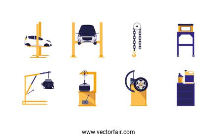 Isolated car repair service icon set vector design