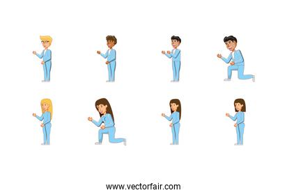 Isolated women and men avatars vector design
