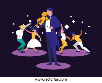 Musician man and dancers vector design