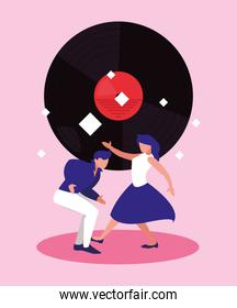 Music festival dancers and vinyl vector design