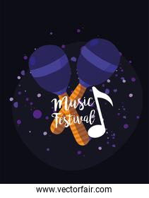 maracas instrument of music festival vector design