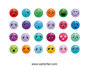 Isolated cartoons faces icon set vector design