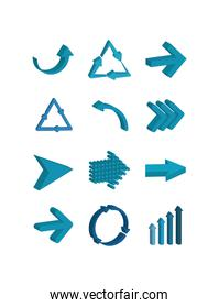 Isolated blue arrows icon set vector design