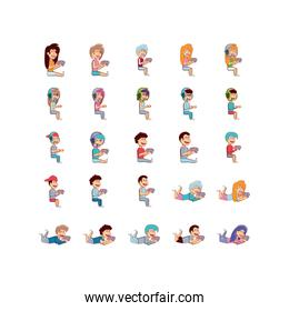 Isolated boys and girls with videogame control icon set vector design
