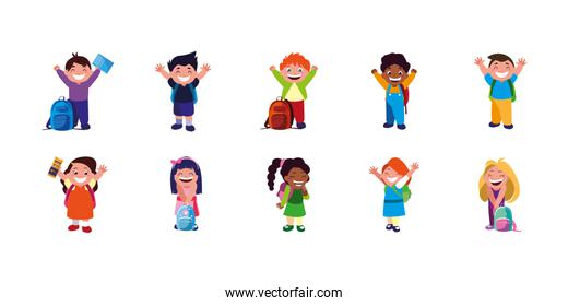 Isolated set of boys and girls cartoons with school bags vector design