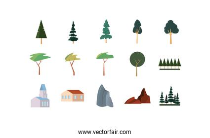 Isolated season trees and buildings icon set vector design