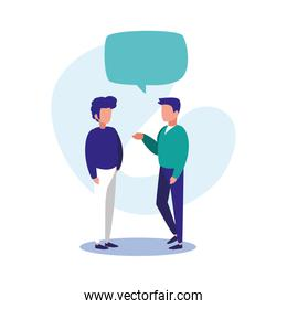 Men with communication bubble vector design