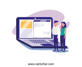 Woman and man with laptop vector design