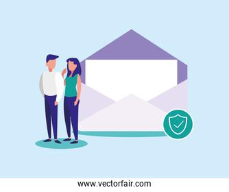 Woman and man with envelope vector design