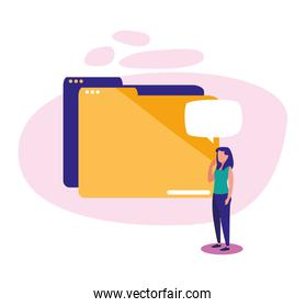 Woman with file and bubble vector design