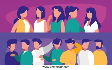 Women and men avatars vector design