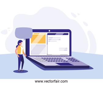 Woman with laptop vector design