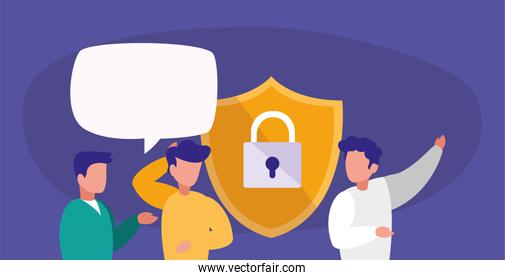 Men avatars padlock shield and bubbles vector design