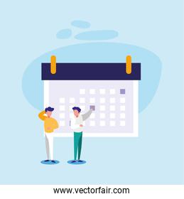 Calendar and men vector design