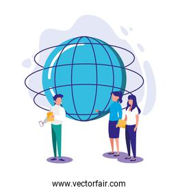 Isolated global sphere women and man vector design
