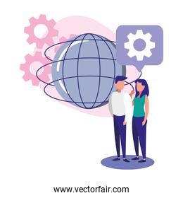 Isolated global sphere woman and man vector design