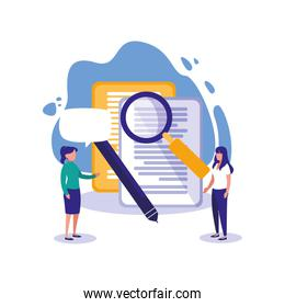 Documents lupe and women vector design