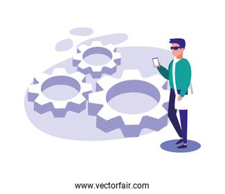 Man with smartphone and gears vector design