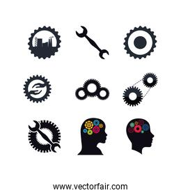 Isolated metal gears set vector design