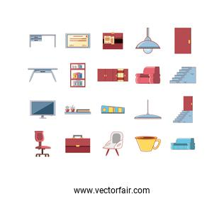 Isolated home and office decoration icon set vector design