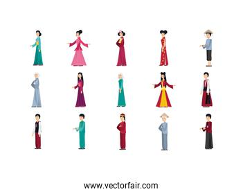 Isolated chinese people with traditional cloth set vector design