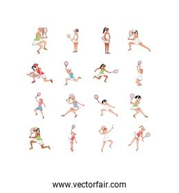 Isolated tennis women players set vector design
