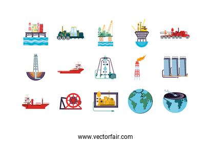 Isolated factory icon set vector design