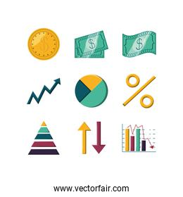 Isolated money and infographic icon set vector design
