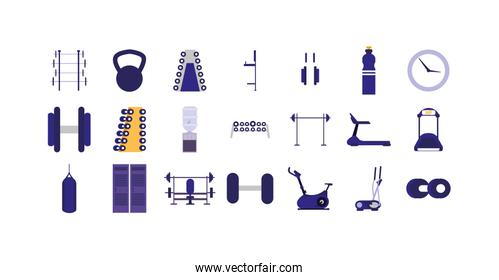 Isolated gym icon set vector design