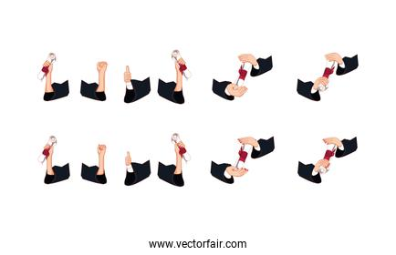 Isolated hands holding graduation diploms icon set vector design