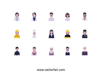 Set of diversity people and workers vector design