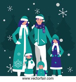 Merry christmas family and snowflakes vector design