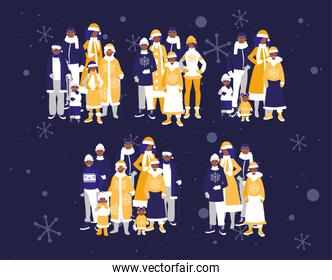 Merry christmas families and snowflakes vector design