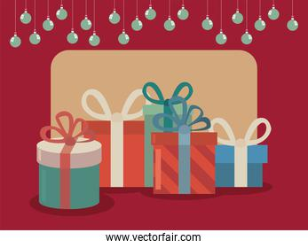 Merry christmas gifts and spheres vector design