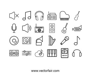 Isolated music icon set vector design